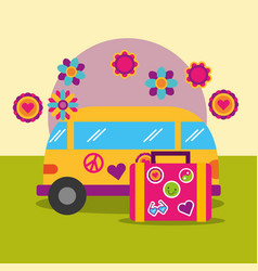 Travel van and suitcase flowers retro hippie free vector