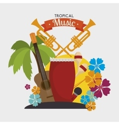 Tropical music instruments isolated icon design vector image