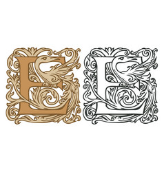 Vintage initial letter e with baroque decoration vector