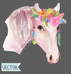 Watercolor horse head over white vector