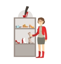 Woman Shopping For Footwear Shopping Mall And vector