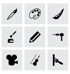 black art tool icon set vector image vector image