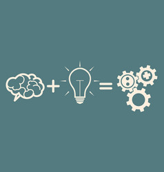 Business mechanism concept brain plus idea gears vector