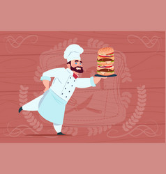 chef cook hold big burger smiling cartoon vector image vector image