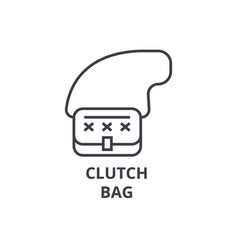 clutch bag line icon outline sign linear symbol vector image vector image