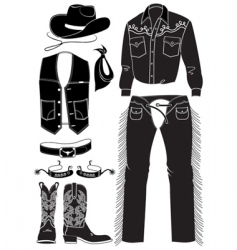 cowboy clothes and elements vector image