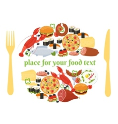 Food badge concept with knife and fork vector image vector image