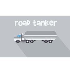 Gray road tanker of flat vector
