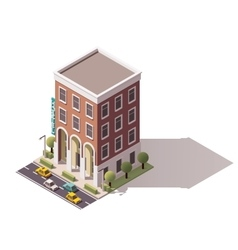 isometric hostel building vector image vector image