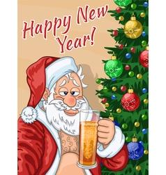 Selfie of Santa Claus with beer vector image vector image