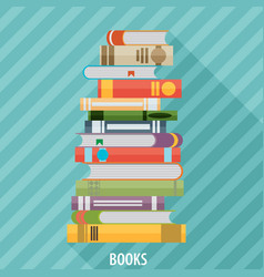 set of books in flat design style vector image vector image
