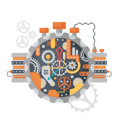 Steampunk vintage cogs and clock face of watches vector