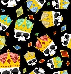 Street Kings Gold Crown skull seamless pattern vector image