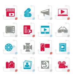 stylized movie and cinema icons vector image vector image