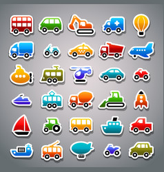 transportation sticker icons vector image
