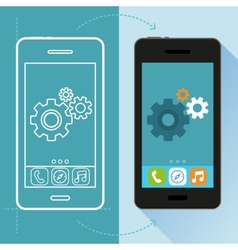 app development concept in flat style vector image vector image