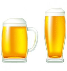 beer in glass and mug vector image vector image