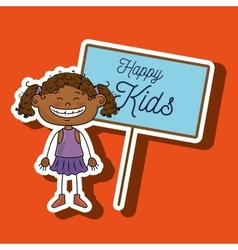 Girl kids happy poster vector