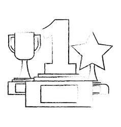 set trophies awards icon vector image