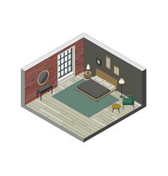 bedroom in isometric view vector image vector image