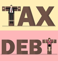 Business people crucified on tax and debt vector image vector image