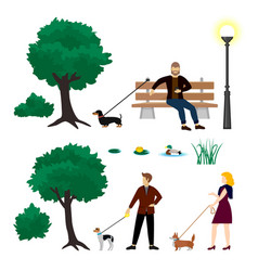 colorful city park elements collection vector image vector image
