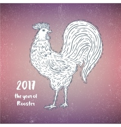 Hand-drawn ornamental style rooster great for vector
