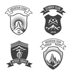 Mountains retro badges set vector image
