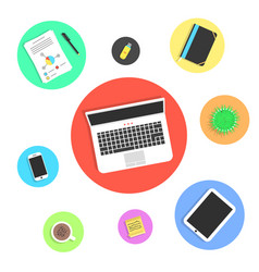 Office objects in colored circles vector