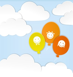 Paper clouds with balloons vector image vector image