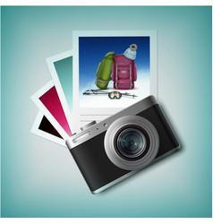 photo camera with snapshots vector image vector image