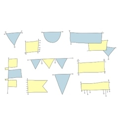 Set of hand-drawing flags for infographic vector image vector image