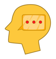 Speech bubble inside human head icon cartoon style vector