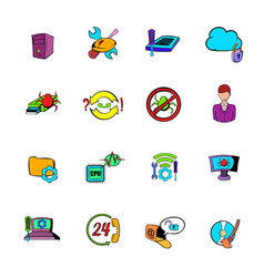 technical support icons set cartoon vector image
