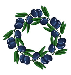 Black olives round wreath branch leaves vector