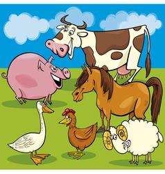 cartoon farm animals group vector image
