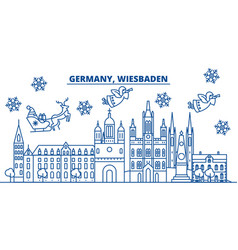 germany wiesbaden winter city skyline merry vector image vector image