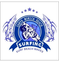 Surfing - label and surfers vector image vector image