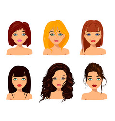 Young pretty women with cute faces fashionable vector