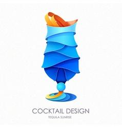 3D cocktail blue hawaii design vector