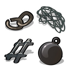 a set of metal products isolated on white vector image