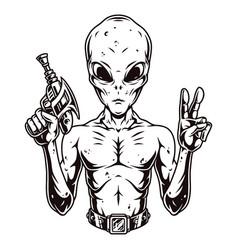 Alien with spacegun showing peace sign vector