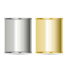 Aluminum cans in silver and gold colors vector