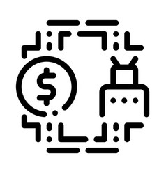 Automated withdrawal money icon outline vector
