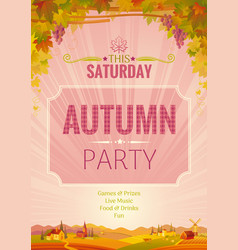 autumn party poster fall harvest festival vector image