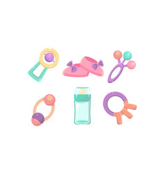 baby care icons set nursery accessories baby vector image