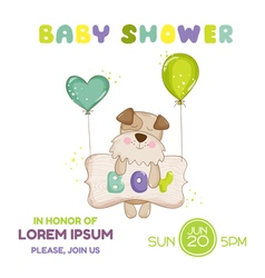 Baby shower or arrival card - dog vector