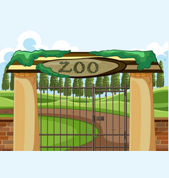 Background scene zoo park with big gate vector