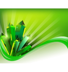 Background transparent green mineral crystals vector