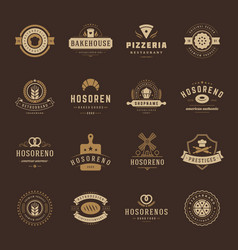 Bakery shop logos badges and labels design vector